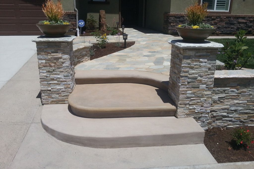 Bullnose concrete steps entry construction