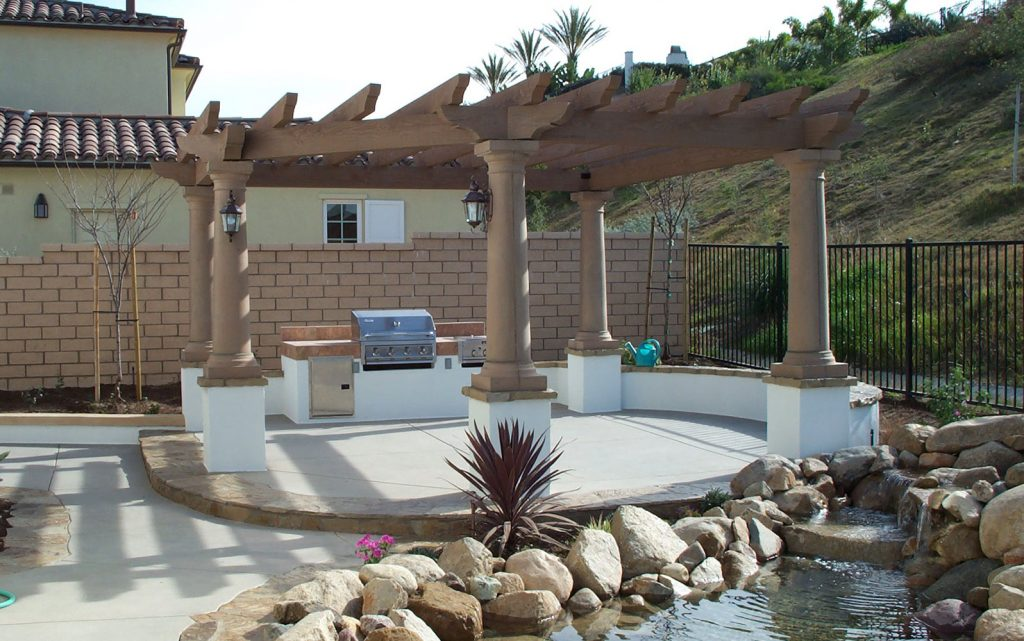 Heavy timber arbor and barbeque island design and construction
