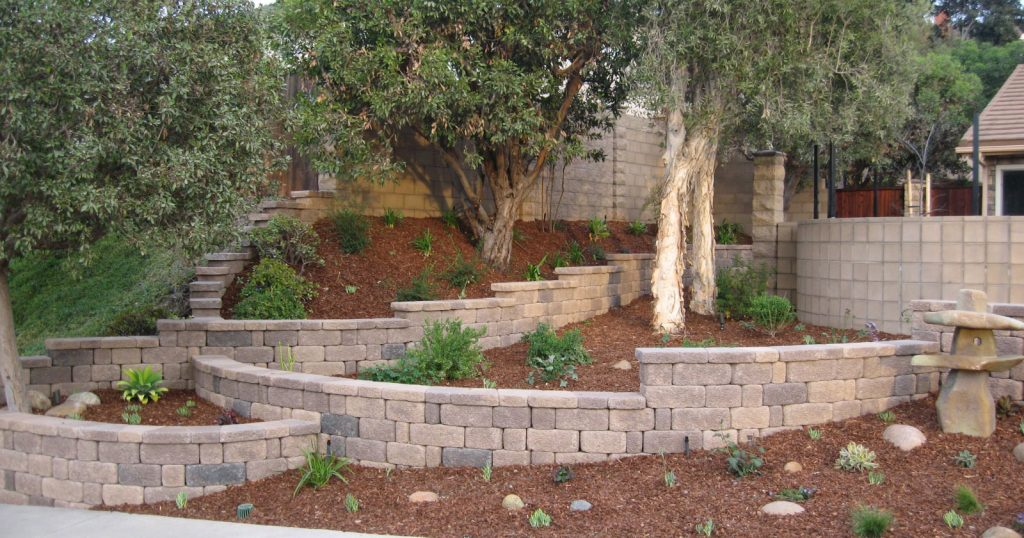 Brick retaining wall and privacy wall design and construction