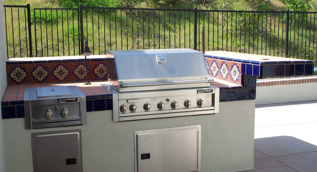 Spanish tile outdoor BBQ island