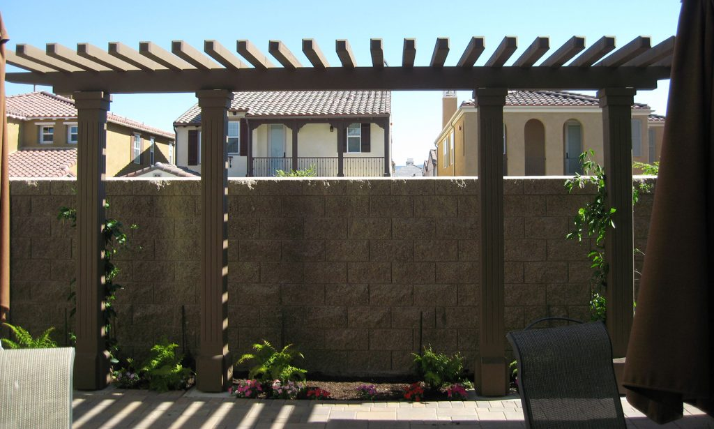 Side yard wood arbor construction and landscaping