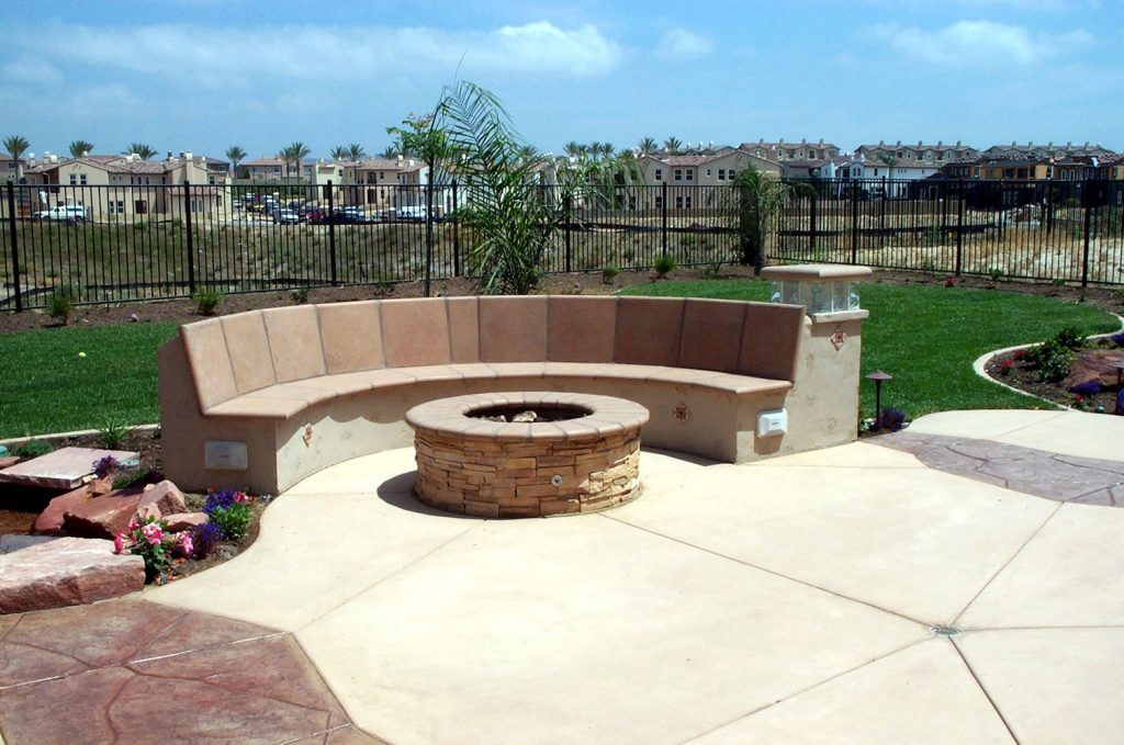 Construct outdoor seating and fire pit