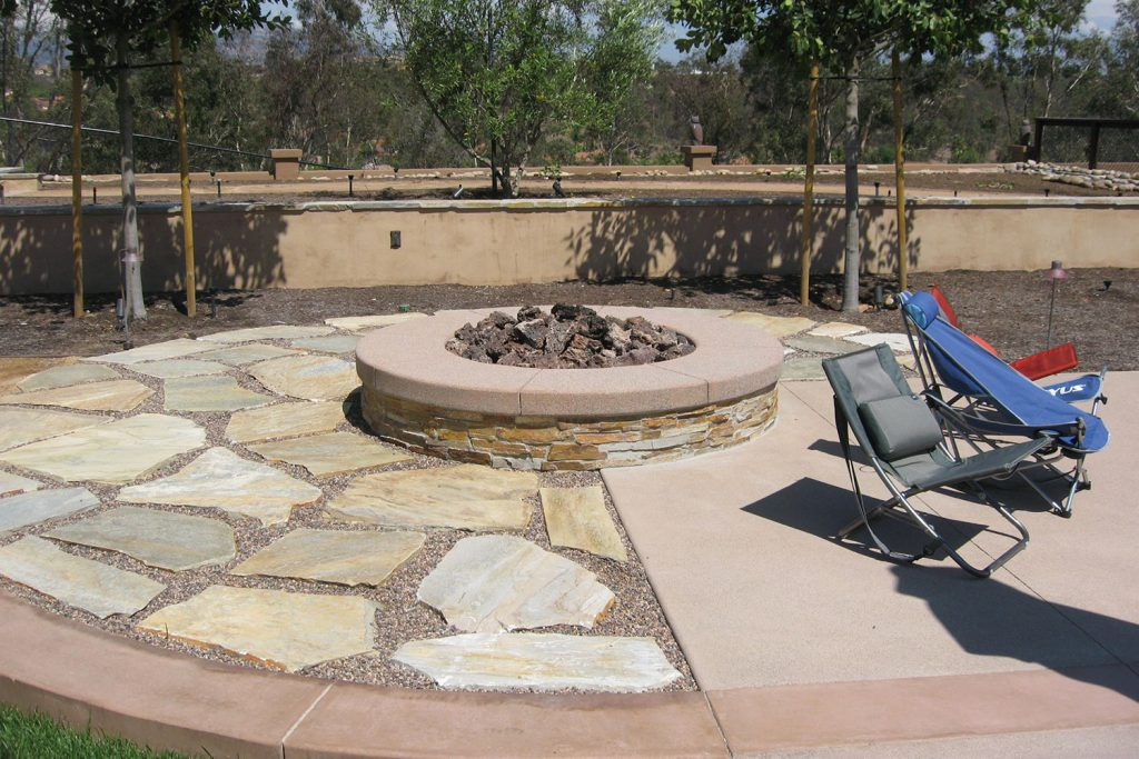 Outdoor firepit and patio construction