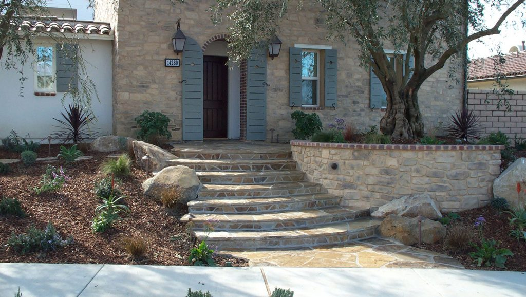 Rock wall and stairs landscape contractor