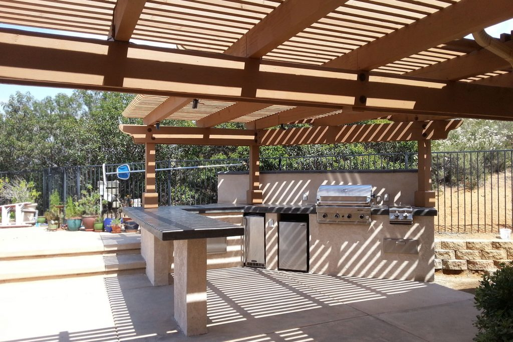 Outdoor barbecue entertaining space construction