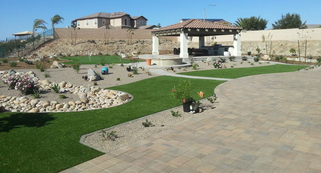 Complete back yard landscaping design with entertaining spaces