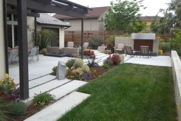 Back yard design with beautiful landscaping and fire place construction