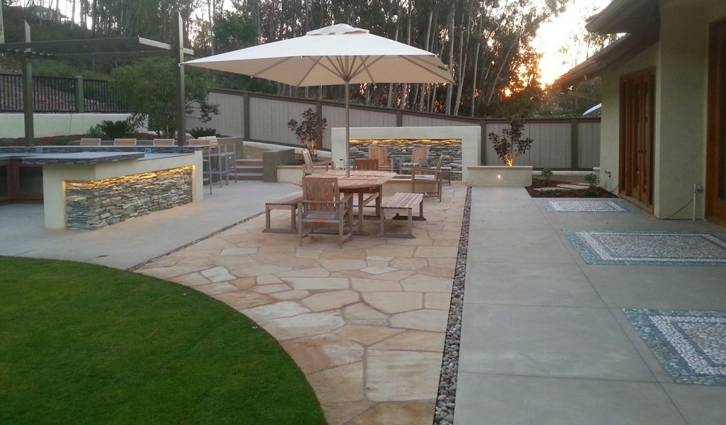 Modern flagstone and concrete patio design and construction