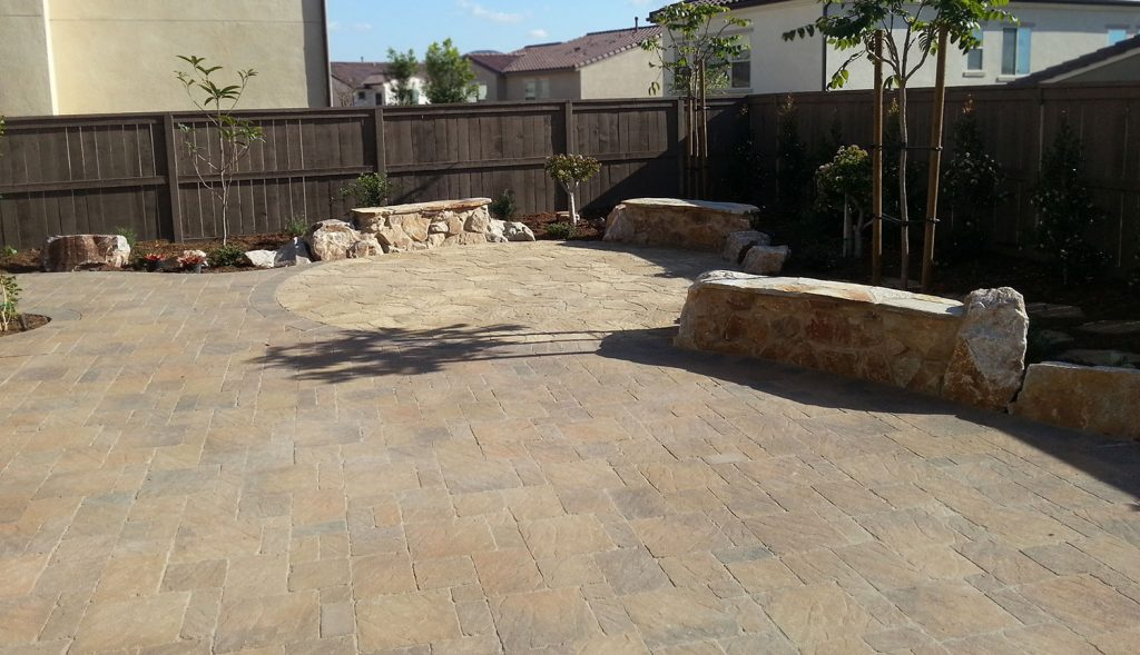 Paver patio design and construction with seating