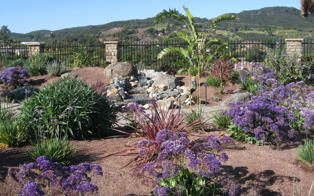 Native garden landscaping with waterfall construction