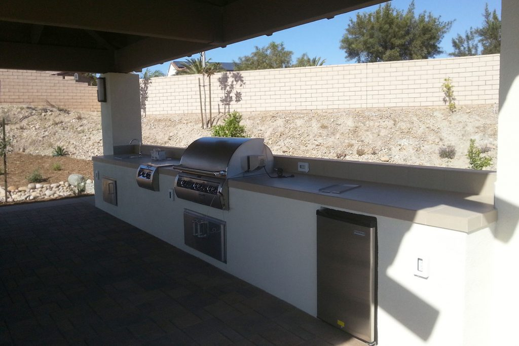 Covered outdoor kitchen construction