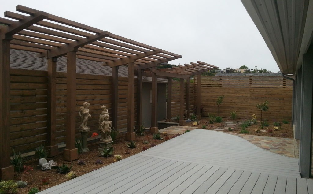 Beautiful deck, patio, trellis design; backyard design