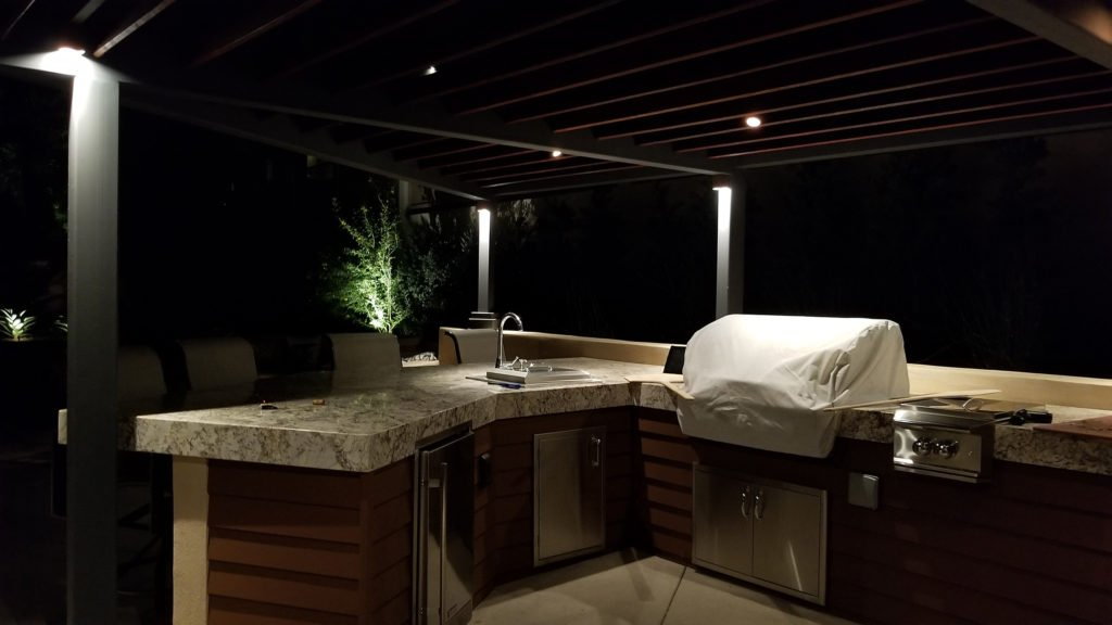 Back yard kitchen contractor modern design with lighting