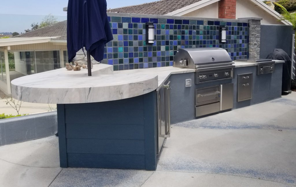 Built in barbecue and counter design and construction